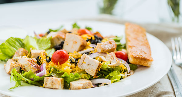 grilled chicken salad with farm fresh produce